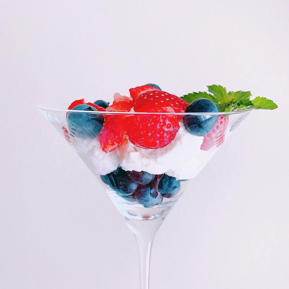 Fresh berry and ricotta parfait