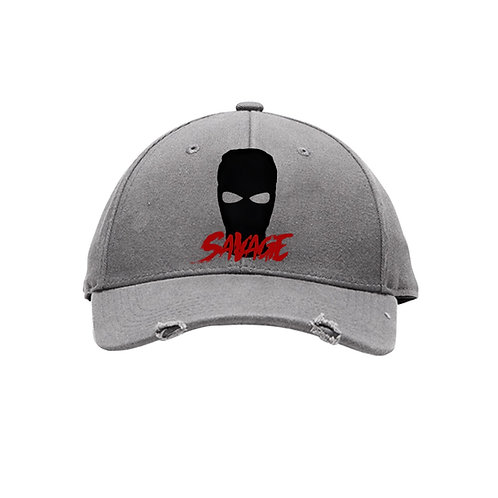 Grey Distressed Savage Cap