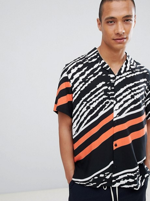 ASOS DESIGN Printed T with Revere Collar