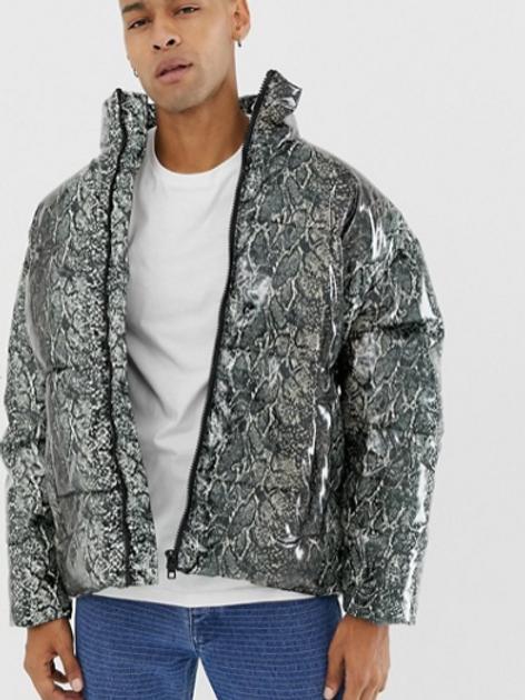 ASOS DESIGN Snake Print Puffer Jacket