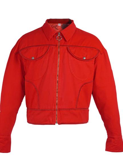 Scarlet Red Denim Jacket by MOLOWO