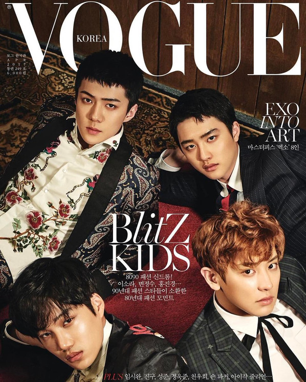 K-Pop Idols, EXO do double duty on the cover of Vogue Korea!