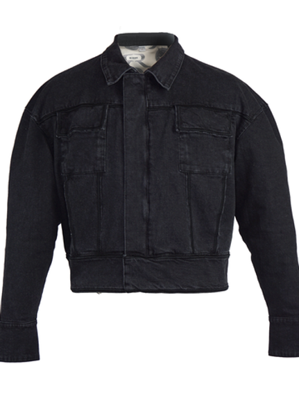 Black Washed Denim Biker Jacket by MOLOWO