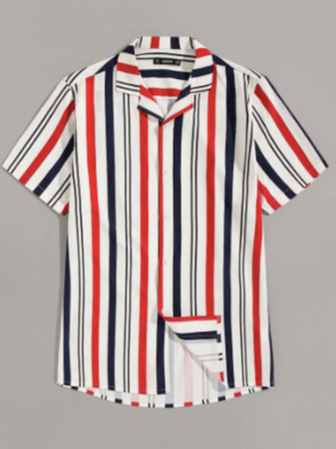 Revere Collar Striped Shirt