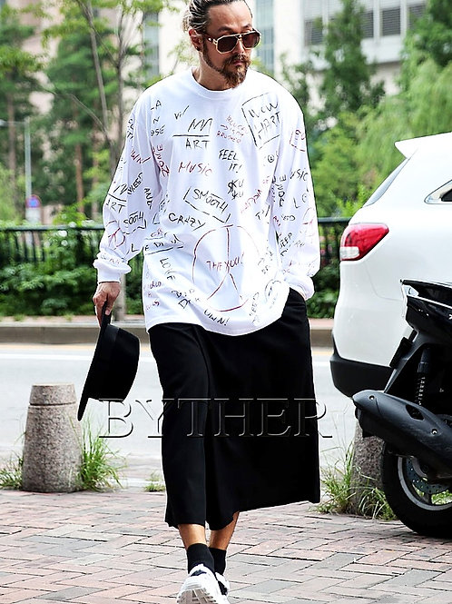 BYTHER Doodle Print Loose Fit Tee