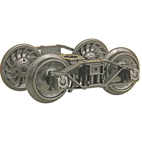 """#972 G Scale (1:29) Arch Bar Metal Trucks with 33"""" Ribbed Back Metal Wheels"""