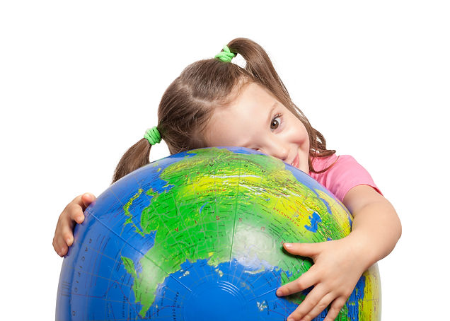 cute little girl hugging globe. save the
