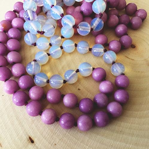 purple agate & quartz mala