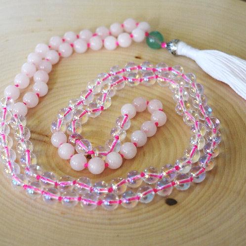 opalite & rose quartz mala
