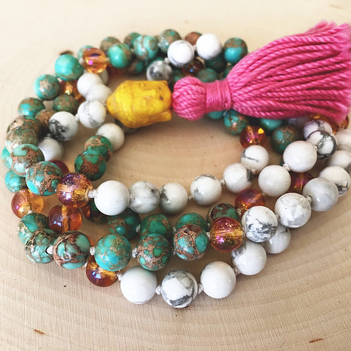 howlite, turquoise & orange quartz mala