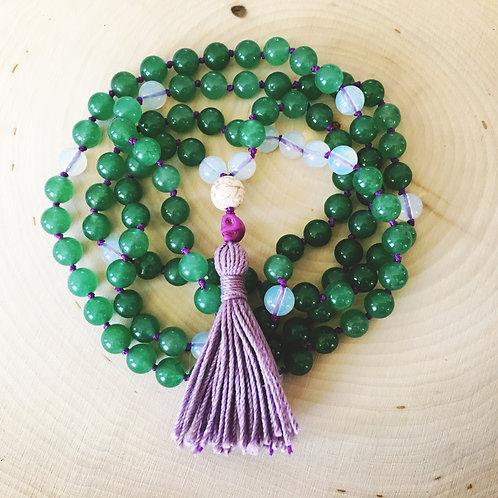 green agate & opalite mala