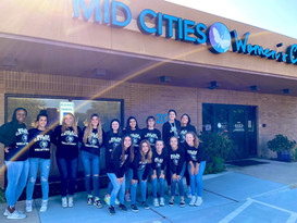 Vikings volleyball serves Mid Cities Women's Clinic