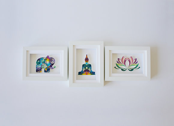 Set of Elephant, Buddha & Lotus Flower