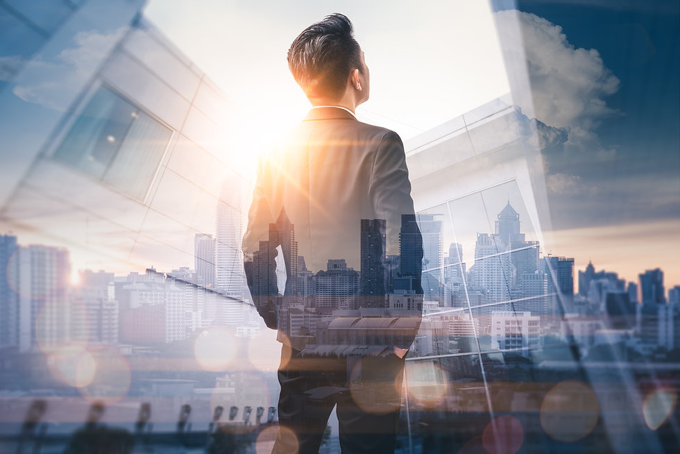The double exposure image of the business man standing back during sunrise overlay with ci