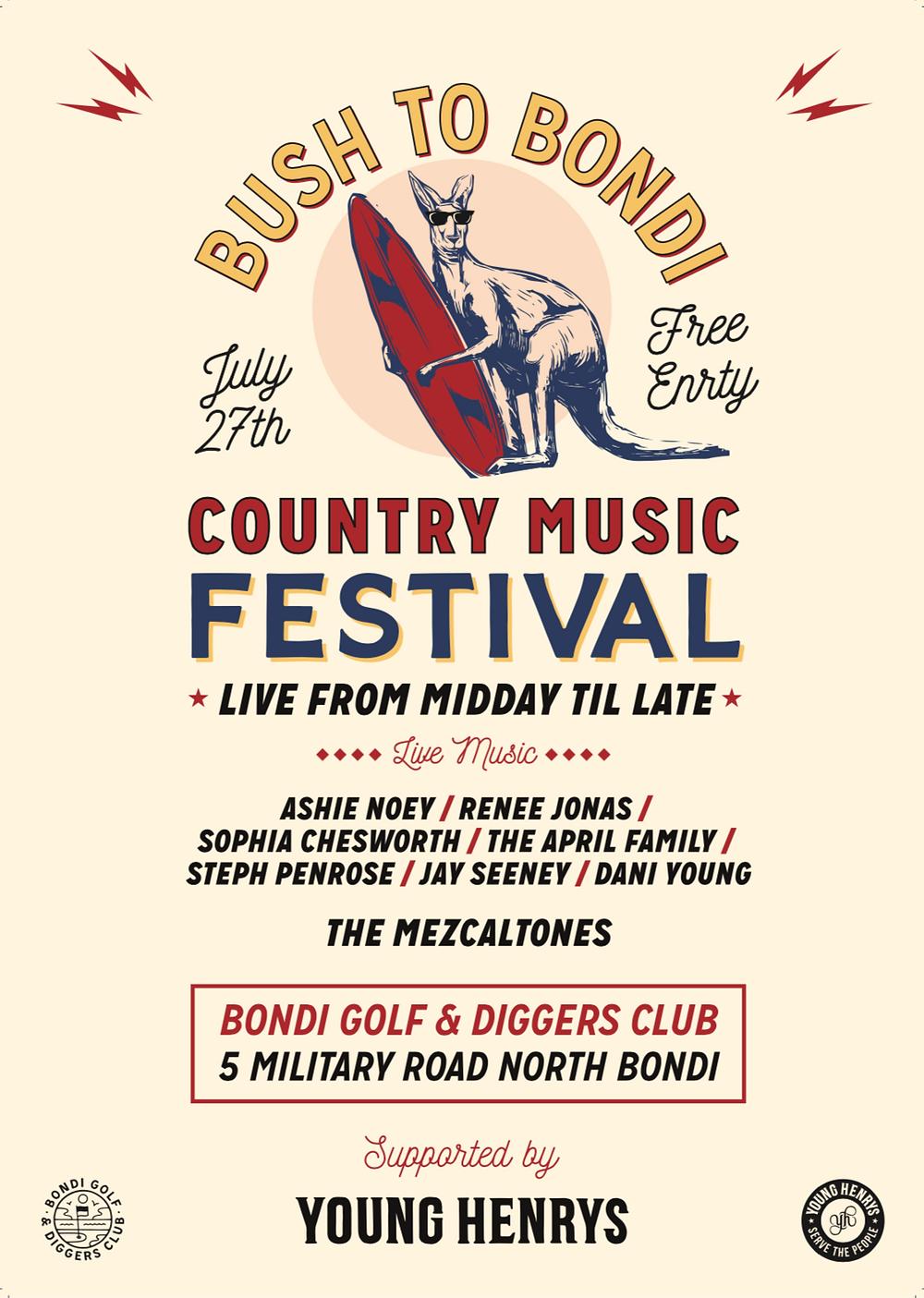 Bush to Bondi country music festival poster