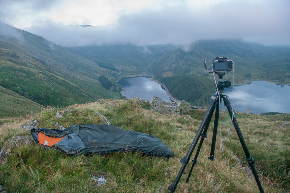 Wild camping on the Old Corpse Road looking over Haweswater to High Street