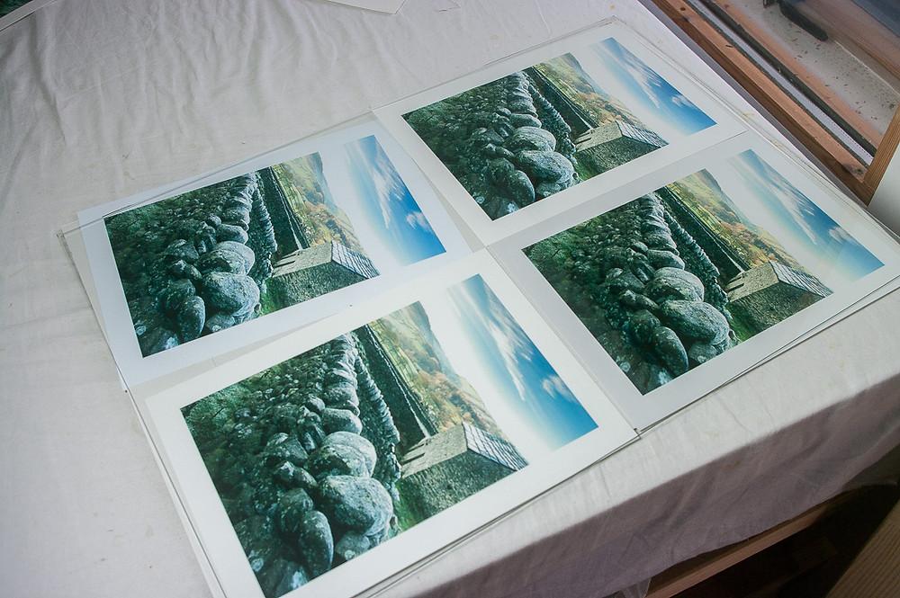 The Fotospeed matt paper shortlist behind glass