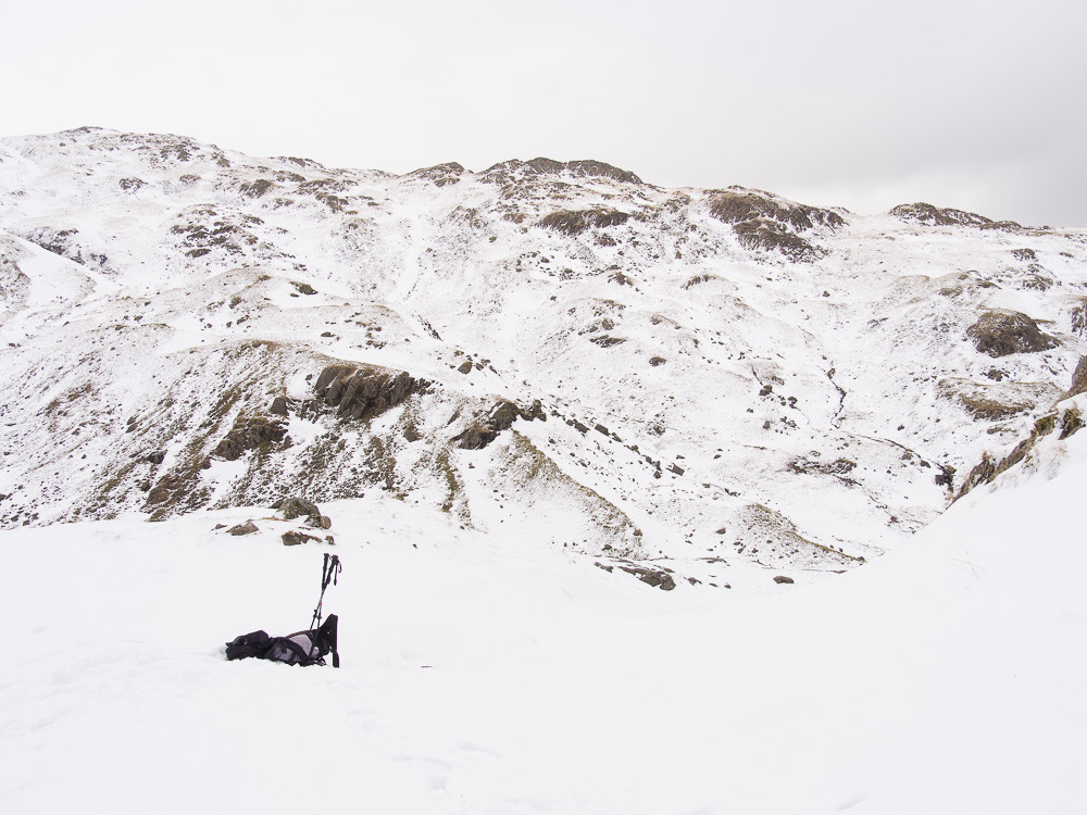 From part way up the east ridge of Pavey Ark, in deep snow looking north.