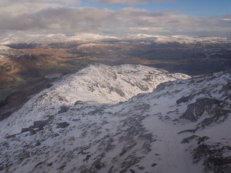 Looking down wetherlam edge from just before the start of the steep icy section.