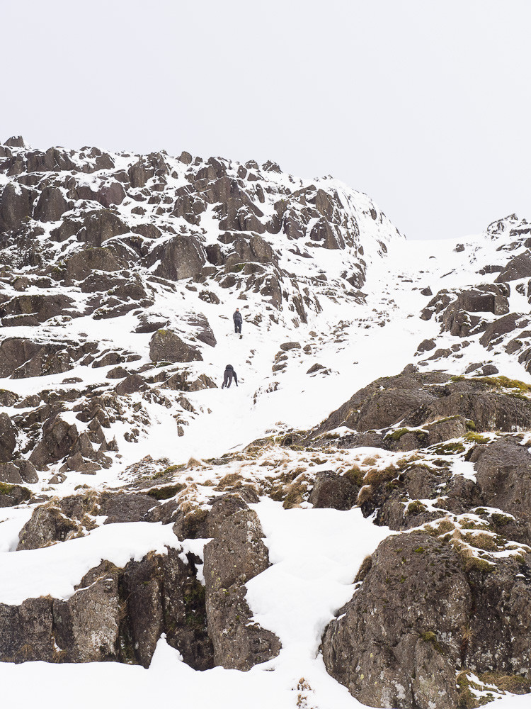 My casual companions struggling on the hard deep snow near the top of Pavey Ark