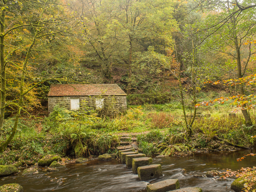Stepping stones across Hebden Water just downstream from Gibson Mill