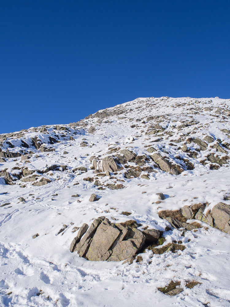 Looking up to the steeper part of the east ridge