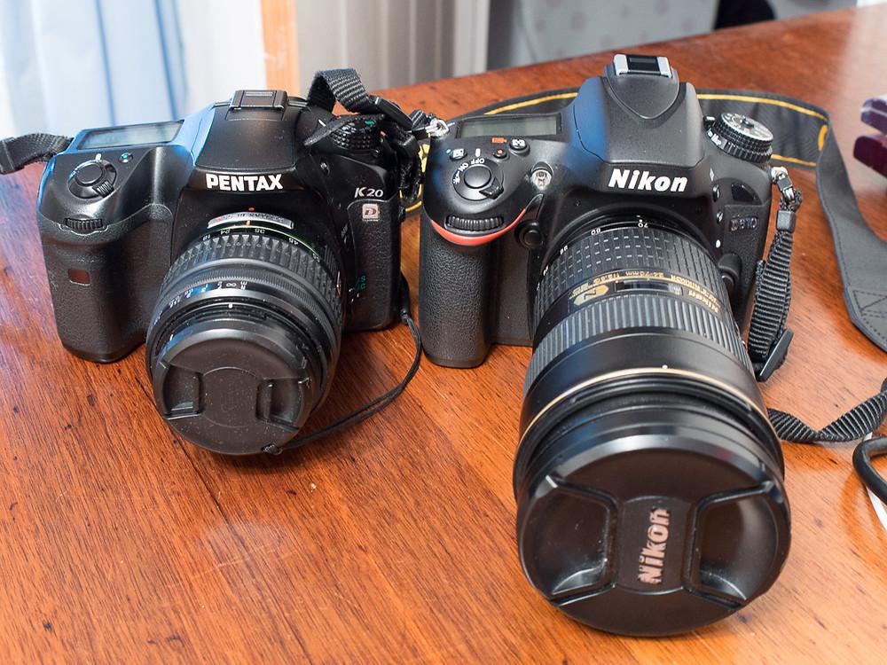 Full frame Nikon d610 next to APS-C Pentax K20d