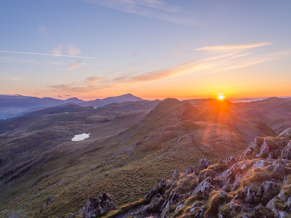 Cnicht at sunrise, Moel Siabod in the distance