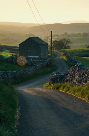 Barn and Road, Wharfedale