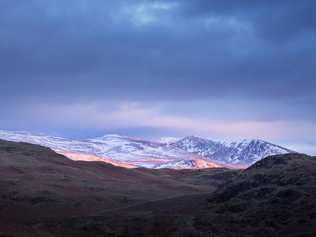 Skiddaw and Helvellyn in the blue hour