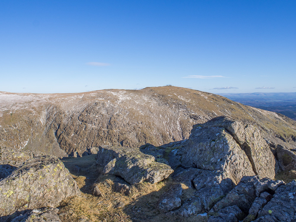 Looking over to Coniston Old Man summit from just below Dow Crag summit.