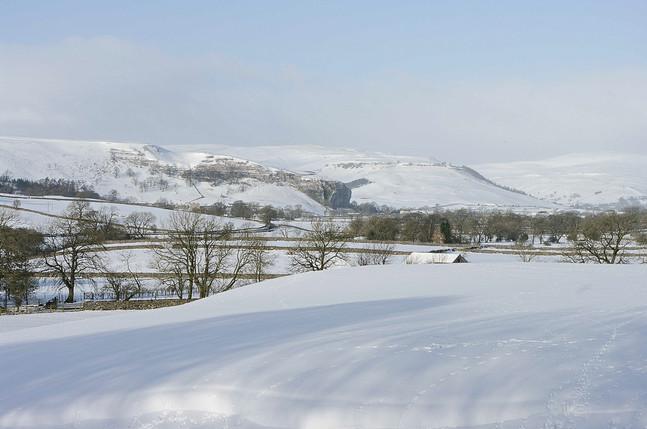 Kilnsey Crag under snow