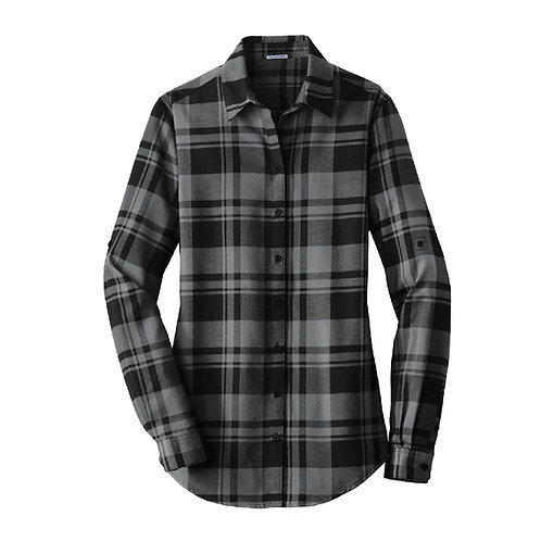 MB Women's Plaid Flannel Shirt -Gray/Black