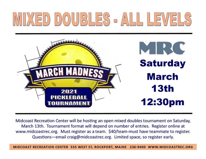 March Madness Pickleball  Tournament 202