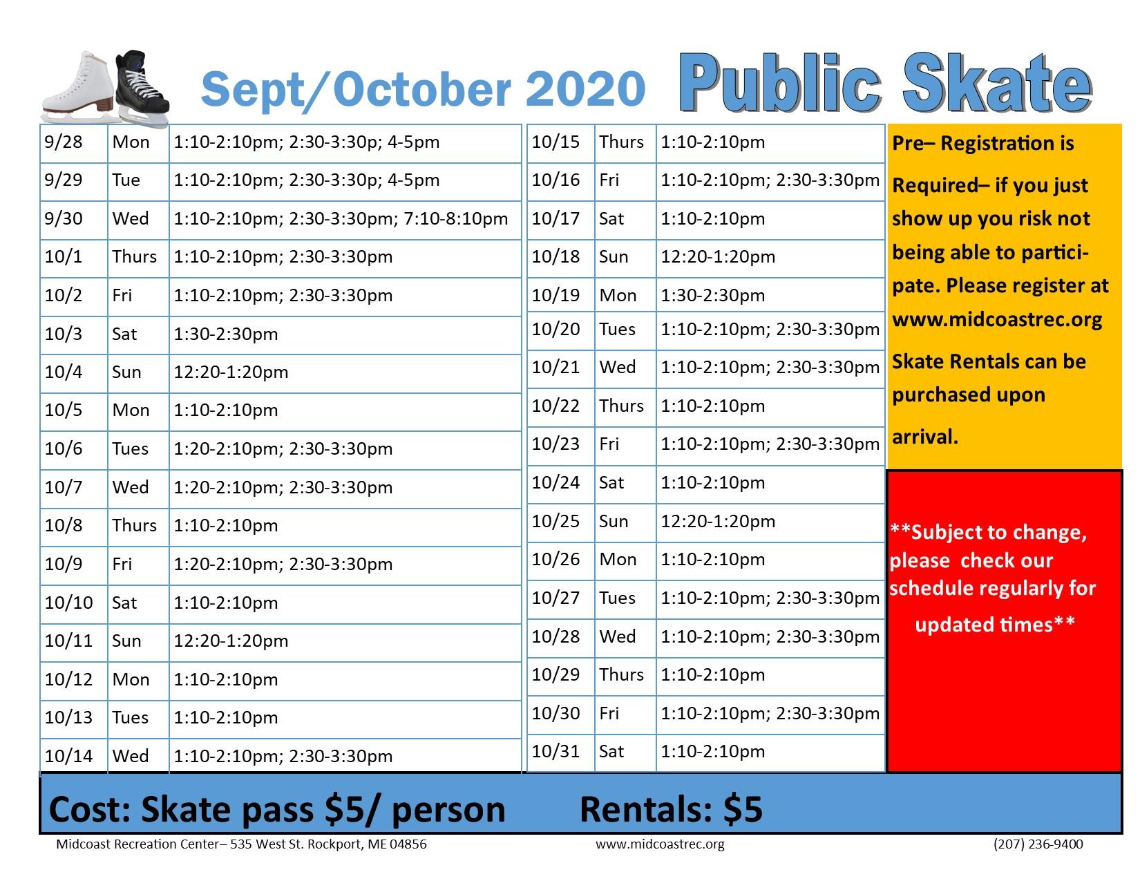 October 2020 public skate