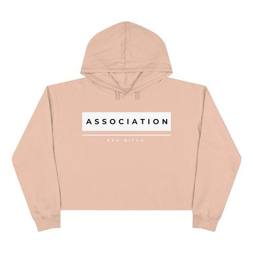 Pink & Black Bad Bitch Association Crop Hoodie