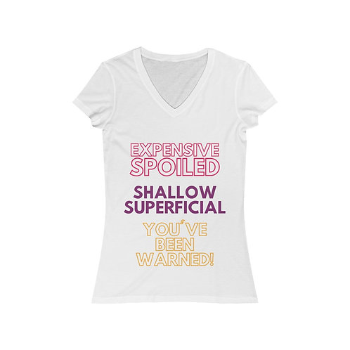 Expensive and Shallow Women's Jersey Short Sleeve V-Neck Tee
