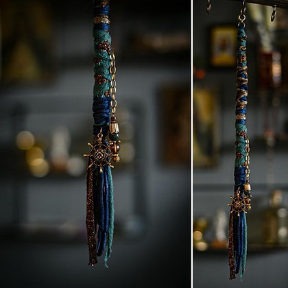 Dreadlock Jewelery bead-wrap Blue 34cm