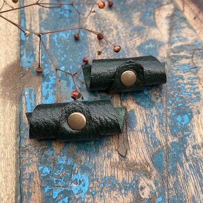 Leren Dreadlock Beads 2 stuks green