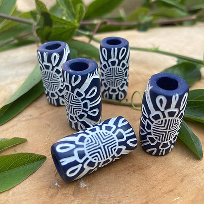Dreadbead Blue&White Tribal Flower