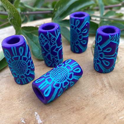 Dreadbead  Purple & Teal Tribal Flower