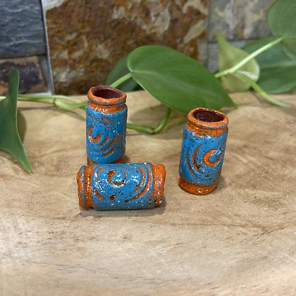 Dreadlock bead Terracotta Blue