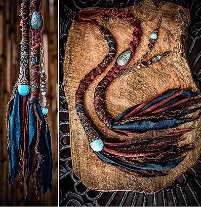 Set van 2 mini dreadwraps 35 cm met prachtige turkoois stenen