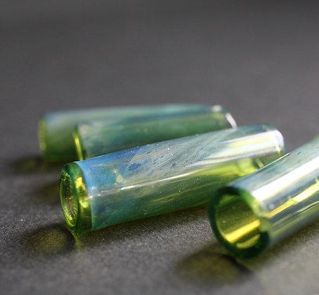 glaskraal 8mm - Groene sparkle handgeblazen