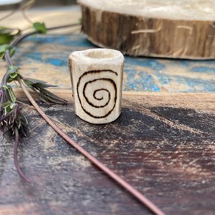 Dreadlock bead hout Spiral