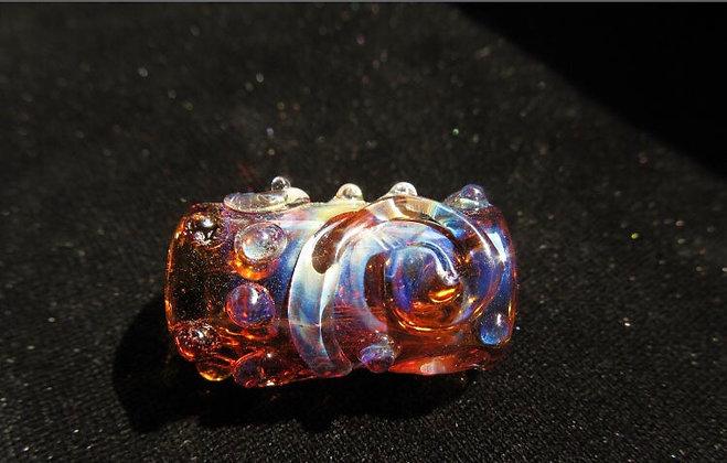 glaskraal 8mm - Amber handgeblazen