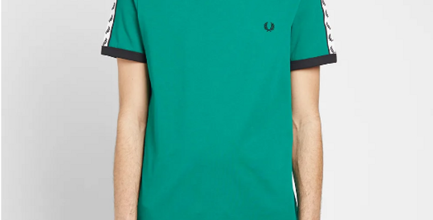 FRED PERRY - AUTHENTIC TAPED RINGER TEE PITCH GREEN M6347