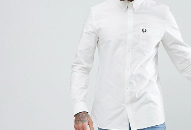 Fred Perry - oxford shirt in white M3551