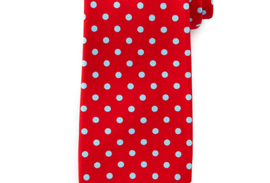 Tommy Hilfiger Men's Classic Red Dotted White Tie 39