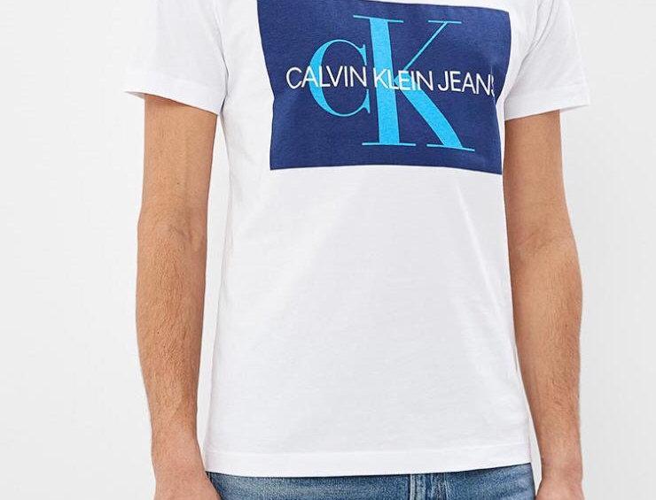 Calvin Klein Jeans monogram box logo slim fit t-shirt in white/green - j30j30784